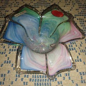 Murano multi colored votive candle holder.